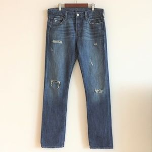 Levi's 501 Button Fly Distressed High Waist Jeans